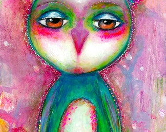 ART PRINT BARNIE the Owl Mixed Media Whimsical Art Print A4 size Free local Postage