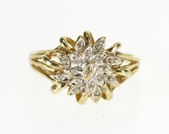 10k Diamond Petal Inset Round Cluster Encrusted Ring Gold