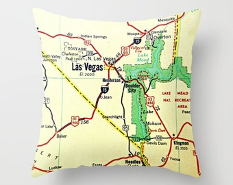 Nevada Map Pillow Cover, Custom Father's Day Gift, Nevada Pillow Reno, Las Vegas, Carson City, Nevada Gift Pillow, NV State Map Throw Pillow