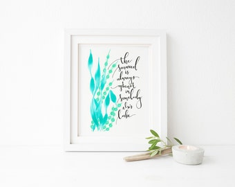The Little Mermaid Seaweed is Always Greener Art Print Hand Lettered Quote 8x10""