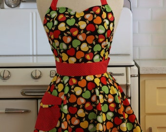 Vintage Inspired Apples on Black Full Apron - BELLA