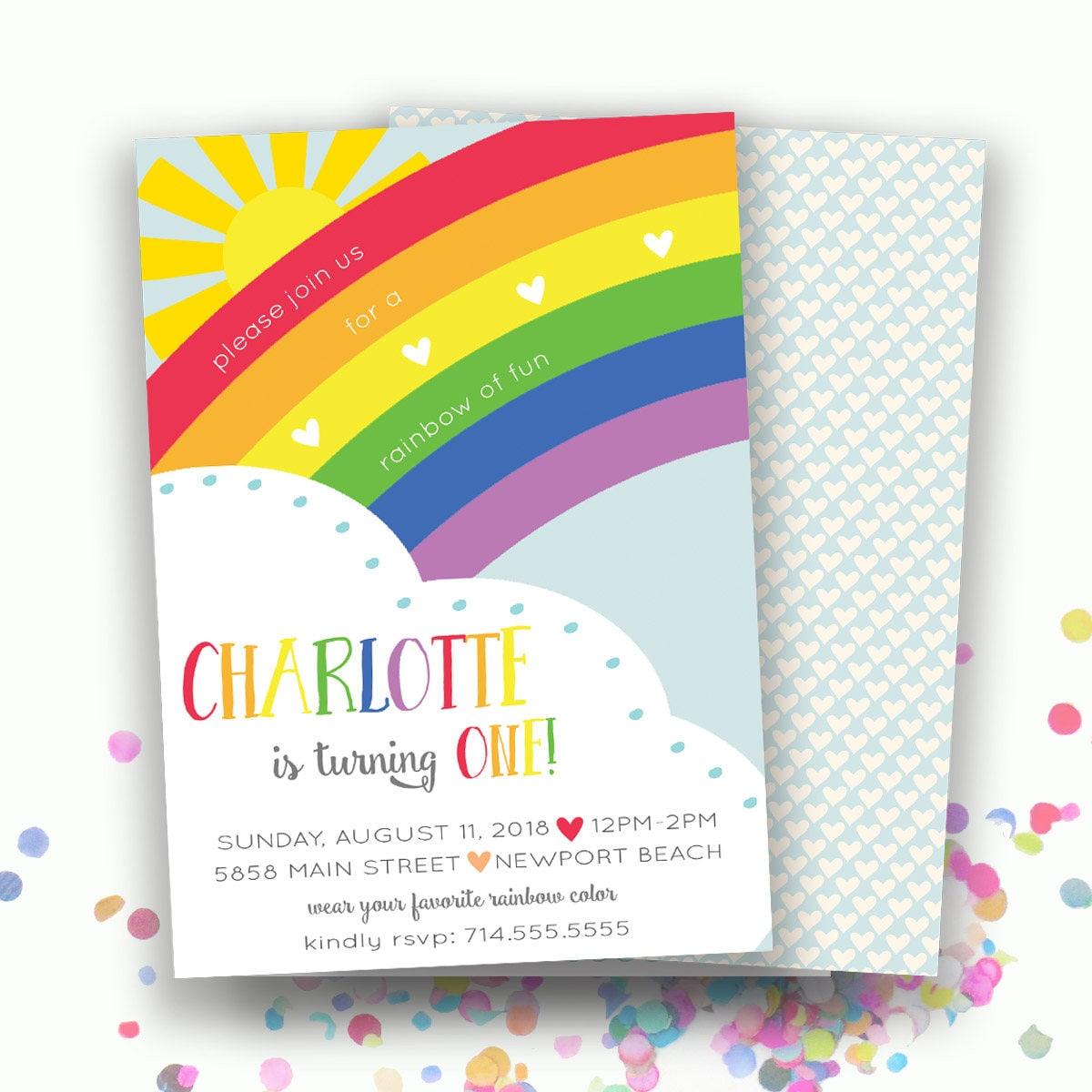 Rainbow Birthday Invitation Rainbow Invitations Rainbow