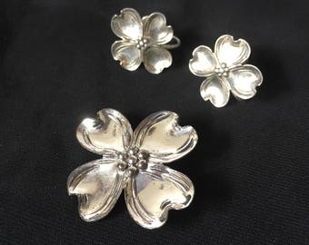 Vintage Sterling Silver Dogwood Flower Screw Back Earrings and Brooch Set by Beau, Vintage Beau Sterling 925 Flower Earrings and Brooch Set