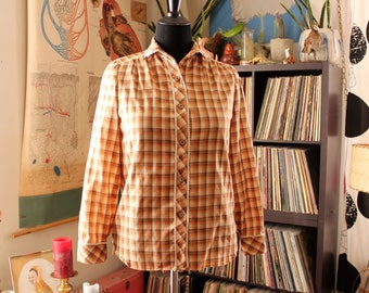 womens vintage 70s 80s western shirt, paper thin shadow plaid blouse . ombre brown gold and orange . medium large