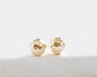 Large Hammered Ball Studs | gold filled ball earrings 8mm
