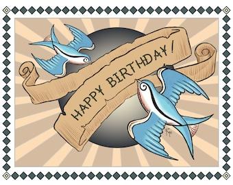 Birthday Card - Happy Birthday - Tattoo Art Swallows - Rockabilly, Rock 'n' Roll, 1950s - Vintage Inspired Card, Digital Download or Print
