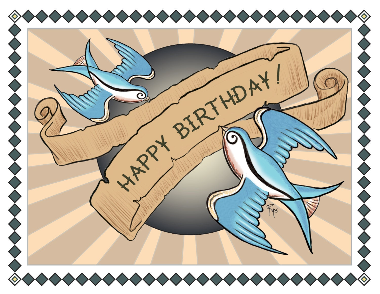 Birthday card happy birthday tattoo art swallows zoom bookmarktalkfo Images