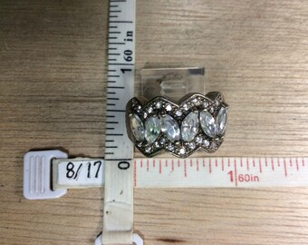 Vintage 925 Sterling Silver 5.6g Ring Size 9.5 Czs Used