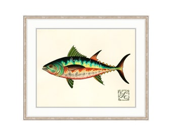 "Tuna Fish 11""x14"" Giclee Print Of A Watercolor Painting For The Saltwater Angler. Yellowfin. Bluefin. Mackerel. Skipjack"