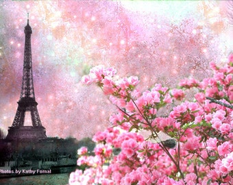Paris Photography, Eiffel Tower Pink Floral, Paris Pink Spring Fine Art Prints, Paris Pink Eiffel Tower Wall Art, Paris Pink Cherry Blossoms