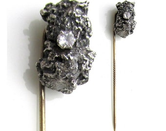 Antique Natural SILVER Nugget Stick Pin set w/ TOPAZ Native RAW Sterling Silver Nugget