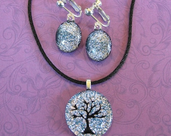 Fused Glass Jewelry Set, Silver Necklace Earring Set, Select Clip On OR Pierced Earrings, Tree Jewelry Set - Harper - 4301 -1