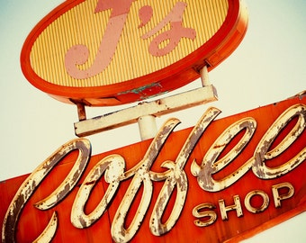 J's Coffee Shop Vintage Neon Sign | As Seen on Vintage and Flea | Retro Kitchen Decor | Historic Highway 99 | Fine Art Photography
