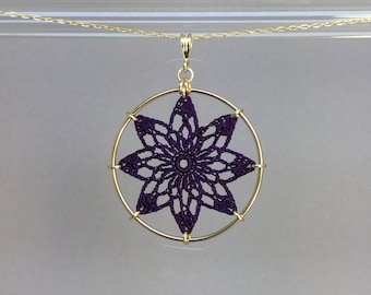 Tavita doily necklace, purple hand-dyed silk thread, 14K gold-filled