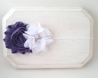 Purple and White Headband - Light Pastel Purple Headband - Newborn Headbands - Infant Headbands - Fancy Headband - Flower Girl Headband