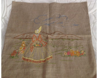SALE! Vintage Oatmeal Linen Cushion Cover, Embroidered Crinoline Lady, Yellow & Orange