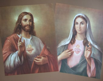 """Set of 2 Sacred Heart of Jesus & Mary pictures Catholic Art Prints  - 12x16"""" by LaFuente - ready to be framed!"""