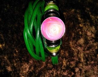 Poison ivy leather bracelet