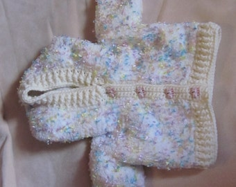 Knitted/Croched Baby Jacket with Hood and Little Piggy buttons (For Baby's to 3-12 months)