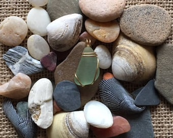 Small Seafoam Sea Glass Wire Wrapped with Tarnish Resistant Brass