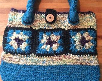 Hand Crocheted Tote Bag, Hand Bag, Market Bag, Purse, Tuquoise, Cream, Black, and Purple Bag