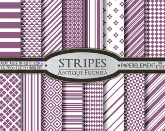 Antique Fuchsia Striped Digital Paper Pack - Instant Download - Stripes and Diamond Patterned Paper for Digital Scrapbooking