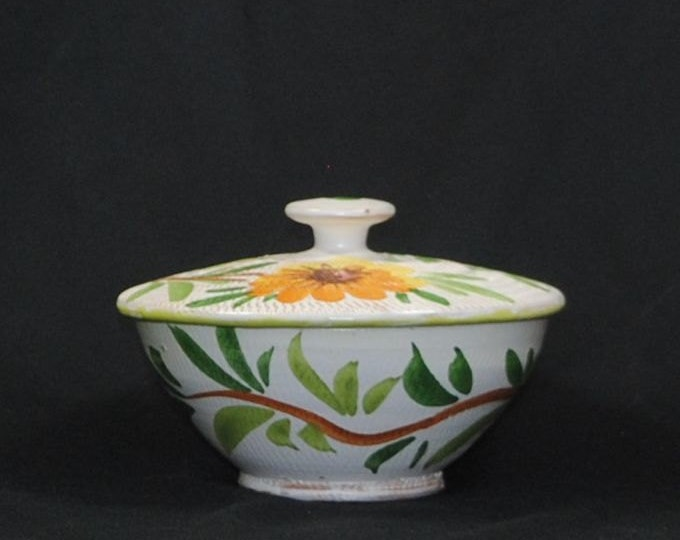 Vintage Italian Pottery Covered Bowl W/ Hand Painted Yellow and Orange Flowers and Vines, Made in Italy