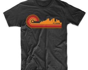 Retro Style Pittsburgh Pennsylvania Skyline T-Shirt by Really Awesome Shirts