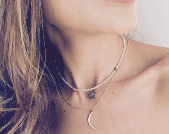 Rainbow Diamond Moon , Crescent Moon CZ necklace