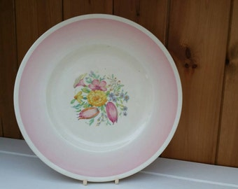 Rare SUSIE COOPER  10inch dinner plate pink Printemps pattern/1930s English tableware/ships worldwide from UK
