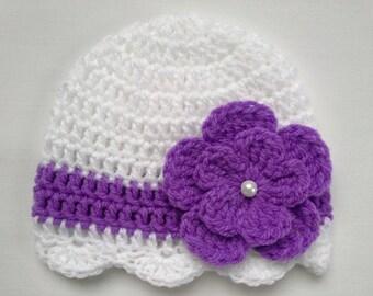 Crochet Baby Kids Toddler Hat Beanie children gift white purple beige pink grey flower