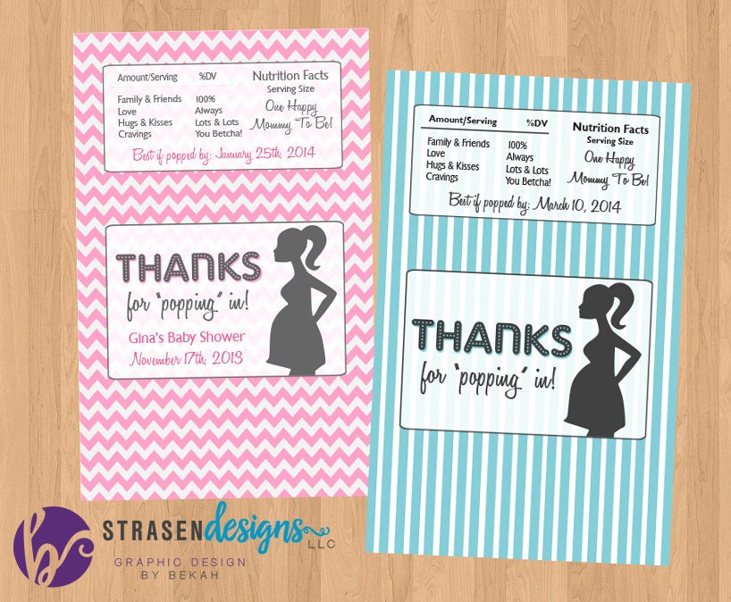 Personalized pop baby shower popcorn wrappers custom zoom pronofoot35fo Choice Image