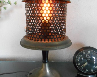Vintage Upcyled Lamp Light Heater Industrial Machine Age Repurposed