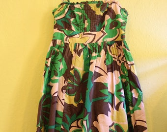 60s dress green with vines and removable straps, shoulder-free