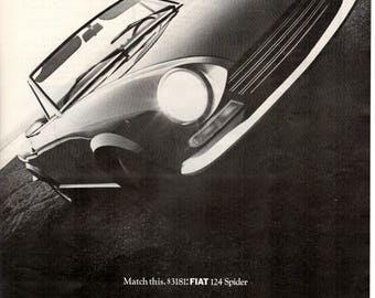 1968 Fiat 124 Spider vintage magazine ad European car advertising (1705)