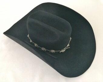 VINTAGE SMITHBILT BLACK Cowboy Hat - Size 6 3/4 - 1960's - Riley McCormick Canada - Original Label - Vintage Western Cowboy Hat