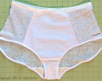 DIY lacy panty KIT, all white dyeable materials, all fabrics & trims included (choose your own pattern)— FREE wash bag included!