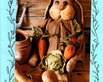 McGreggor's Rabbit 19 Inches Tall Stuffed Bunny Primitive Soft Toy Soft Sculpture with Button Eyes and Vegetables Sewing Pattern