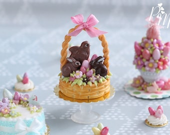 MTO-Handmade Miniature Easter Basket Cake - Chocolate Bunnies and Chick - Miniature Food in 12th Scale for Dollhouse