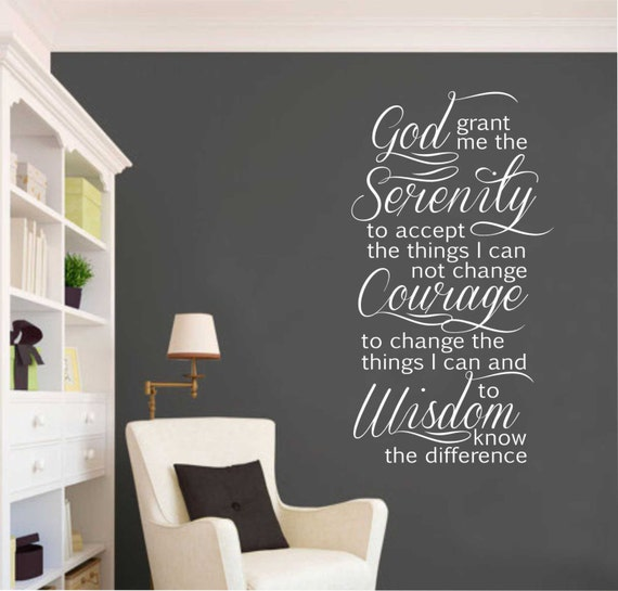 Serenity Prayer, Vinyl Wall Lettering, Vinyl Wall Decals, Vinyl Letters, Vinyl  Lettering, Wall Quotes, Religious Quote, Christian Decal