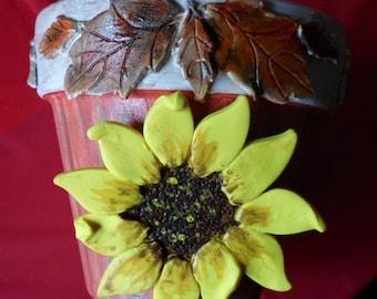 Sunflower Pot Sunflower and Leaves Flower Pot Clay Sunflower and Leaves Pot Sunflower Planter Hand Painted Pot Sunflowers