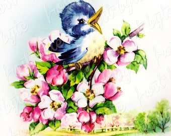 Bluebird Sitting on Apple Blossom Branch - Digital image for instant download - Clip art vintage picture - scrapbooking crafts design