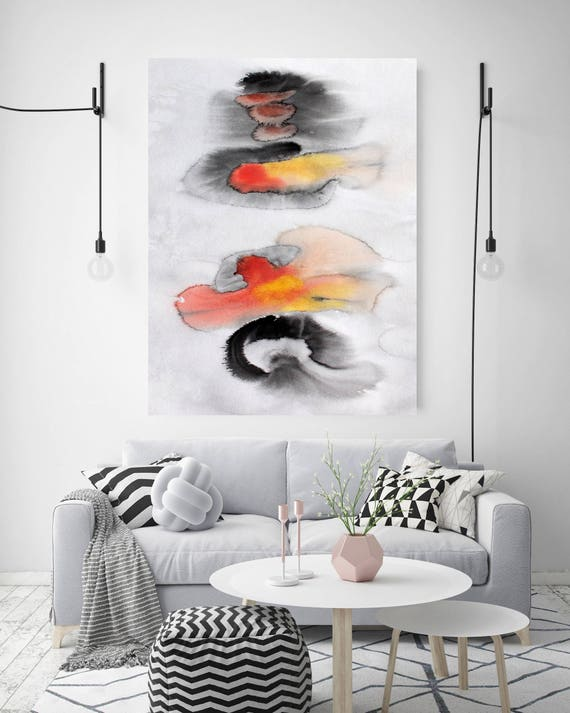 """Join Forces. Watercolor Abstract Red Black Canvas Art Print, Extra Large Canvas Art Print  up to 72"""" by Irena Orlov"""