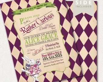 Alice in Wonderland Invitation / Bridal Shower / Mad Hatter Tea Party - Printable or Print - Purple Baby Shower