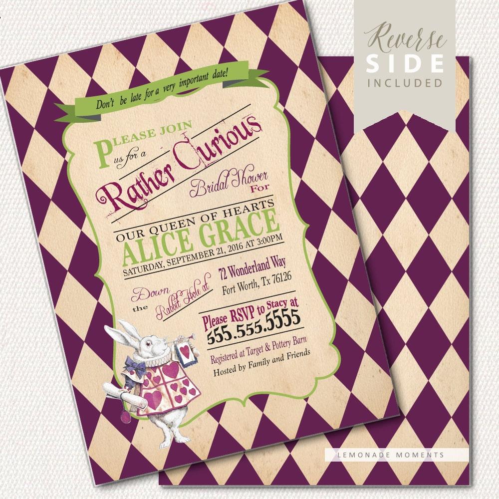 Alice in Wonderland Invitation / Bridal Shower / Mad Hatter