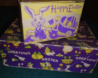 Pair of Vintage Cardboard Easter Candy or Gift Boxes