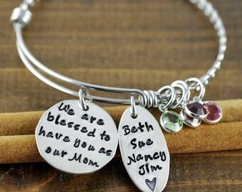 We are blessed Bangle Bracelet, Personalized Grandma Bangle Bracelet, Gift for Grandma, Silver Bangle Charm Bracelet, Name Bracelet