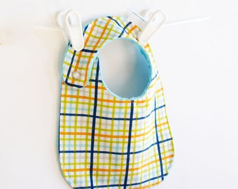 Baby Boy Bib, Adjustable Bib with Minky Military Max Plaid