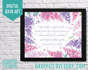 Printable 8x10 Watercolor Lilac Flowers, Here Sleeps a Girl Digital Art | High Resolution JPG File, Instant Download, Ready to Print