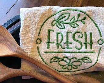 Fresh Natual Cotton Embroidered Flour sack Dish Towel, kitchen label, kitchen decor, green reusable kitchen gift